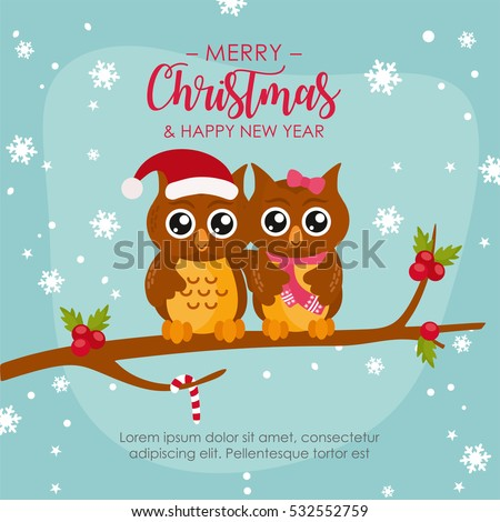 Funny owl couple merry christmas greeting stock photo photo vector funny owl couple merry christmas greeting card design illustration with cute owls on a m4hsunfo