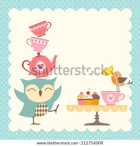 Funny owl giving a very good tea party. - stock vector