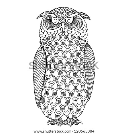 Funny owl illustration- original drawing vectorized - stock vector
