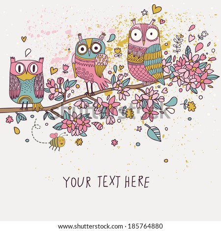 Funny owls on branch in flowers. Spring concept background. Bright illustration, can be used as invitation card. Vector summer wallpaper - stock vector