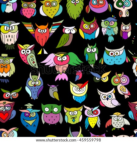 Funny owls, seamless pattern for your design - stock vector