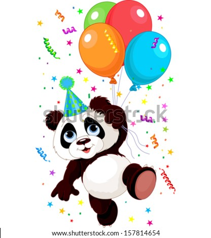 Funny panda flying with balloons - stock vector