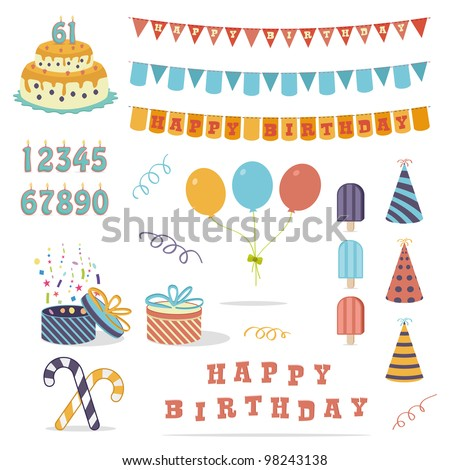 funny party elements more than 20 objects - stock vector