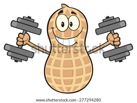 Funny Peanut Cartoon Mascot Character Training With Dumbbells. Vector Illustration Isolated On White - stock vector