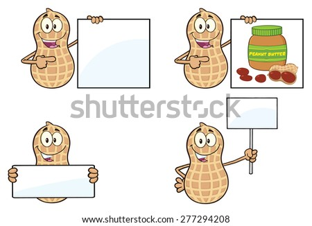 Funny Peanut Cartoon Mascot Character 5. Vector Collection Set Isolated On White - stock vector