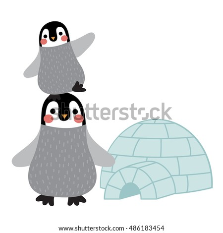 Funny Penguin and igloo animal cartoon character isolated on white background.