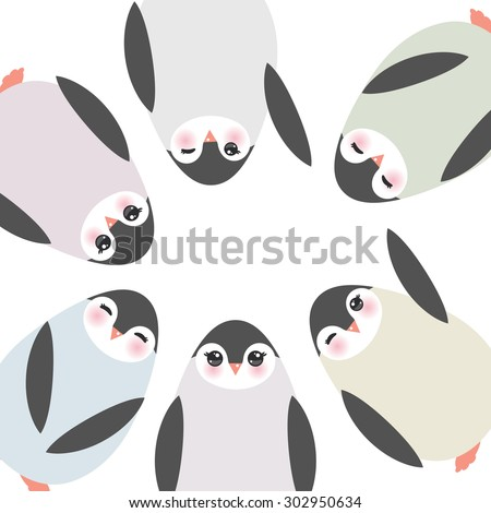 Funny penguins on white background card template. Vector - stock vector