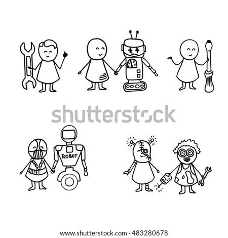 Funny people and robots icons. Doodle technology set. Vector hi tech Illustration.