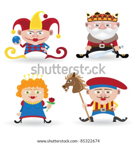 Funny people collection (knave, king, queen and joker isolated on white background)