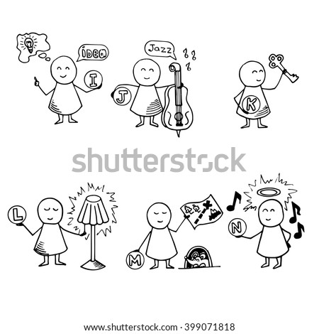 Funny people icons. Alphabet set. Doodle Vector Illustration.
