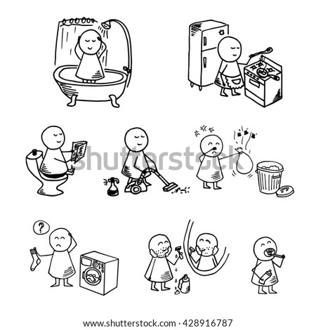 Funny people icons. Big home set. Vector Illustration.