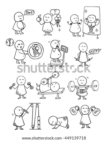 Funny people icons. Health, food, diet, fitness, sport training  - doodles set. Vector background. - stock vector