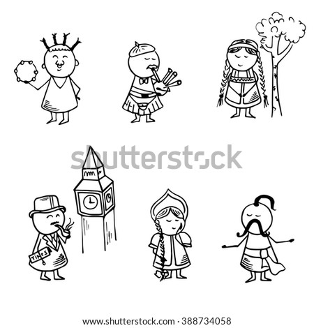 Funny people icons. National doodle set. Vector Illustration. - stock vector