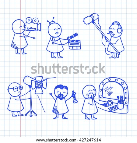 Funny people icons. Set of hand drawn cinema doodles film. Vector illustration on graph paper.