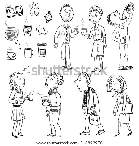 Funny people struggling without coffee - stock vector