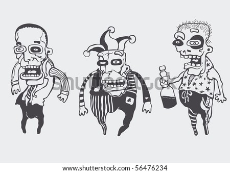 funny personages set. vector illustration.