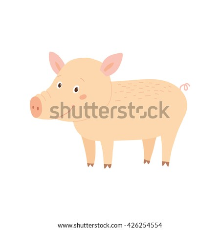 Funny pig character. Farm animal. Retro vector hand drawn eps 10 clip art illustration isolated on white background. Children's book design element. Picture book illustration.