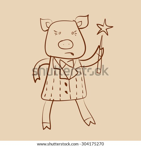 Cartoon pig head on a stick - photo#36