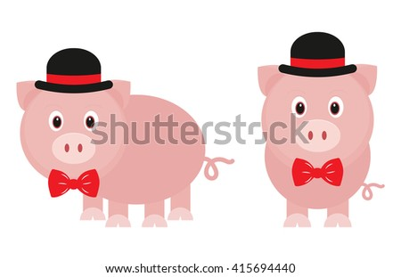 funny pig with tie and hat set - stock vector
