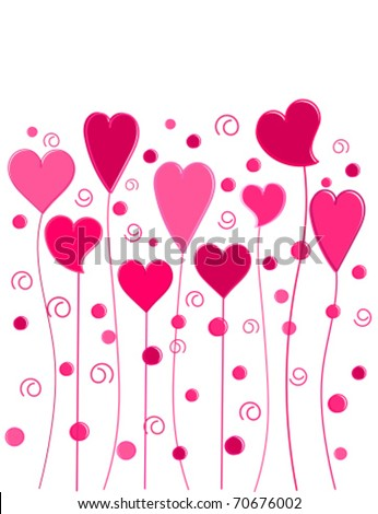 Funny pink hearts growing on long stems. Vector illustration - stock vector