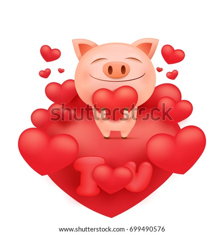 Funny Pink Pig Cartoon Character Standing On Heart Vector Illustration