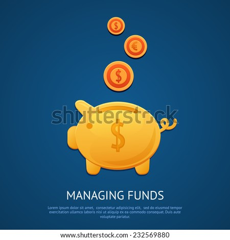 Funny pink piggy bank money box with golden coins managing funds poster vector illustration. - stock vector