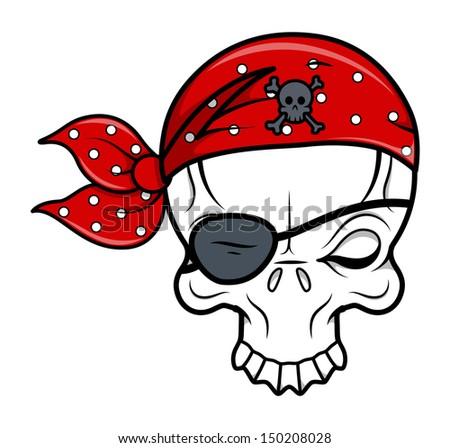 Funny Pirate Skull - Vector Cartoon Illustration - stock vector