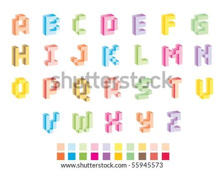 funny pixel alphabet - stock vector