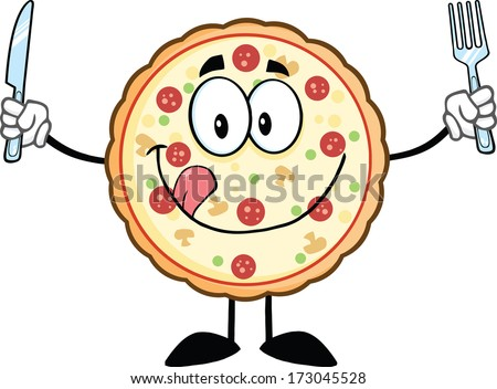 Funny Pizza Cartoon Mascot Character With Knife And Fork. Vector Illustration Isolated on white - stock vector