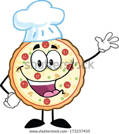 Funny Pizza Chef Cartoon Mascot Character Waving With Speech Bubble. Vector Illustration Isolated on white - stock vector