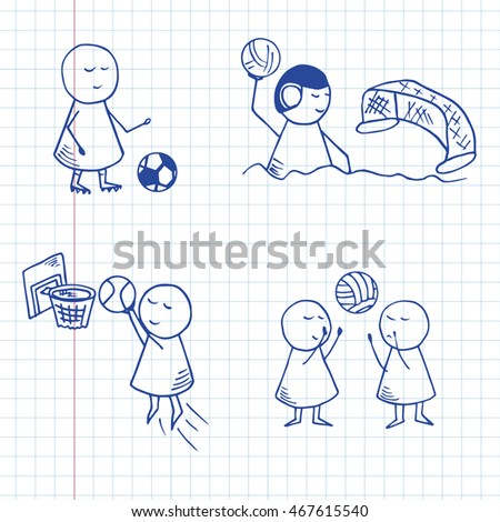 Funny players icons. Set of doodle play sports symbols. Vector Illustration on graph paper.