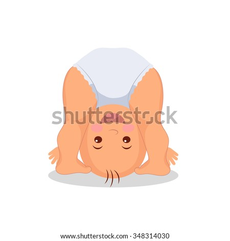Funny playing baby standing on his head. Little cute baby playing upside down.  Isolated kid on the white background. - stock vector
