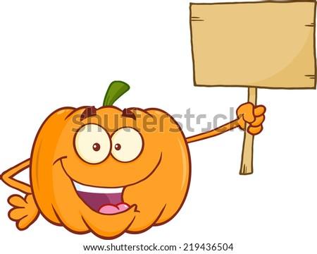 Funny Pumpkin Cartoon Mascot Character Holding A Wooden Board - stock vector