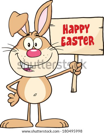 Funny Rabbit Cartoon Character Holding A Wooden Board With Text. Vector Illustration Isolated on white - stock vector