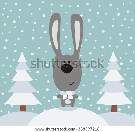 Funny rabbit in winter on background trees, the snow is falling. Cartoon rabbit in forest. - stock vector