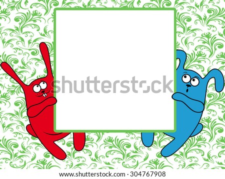 Funny rabbits holding a big advertising banner, vector illustration on the green seamless floral background - stock vector