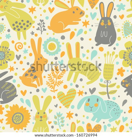 Funny rabbits in hearts and flowers. Cute childish seamless pattern in cartoon style. Seamless pattern can be used for wallpapers, pattern fills, web page backgrounds, surface textures - stock vector