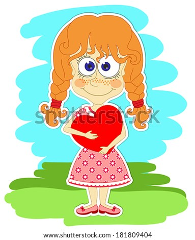 Funny redhead girl in beautiful dress is keeping big red heart in her hands - stock vector