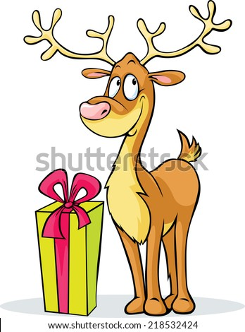 funny reindeer and gift - vector illustration isolated on white background - stock vector