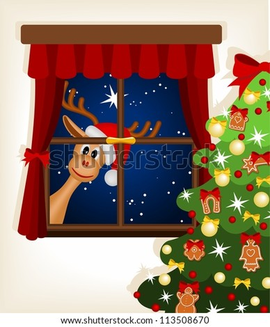 funny reindeer looking through window at christmas time - vector illustration - stock vector