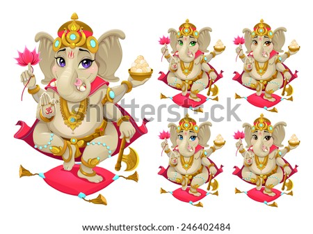 Funny representation of eastern god in 5 different colors, vector cartoon isolated characters. - stock vector