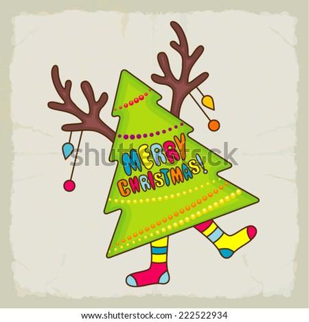 Funny retro christmas card - stock vector