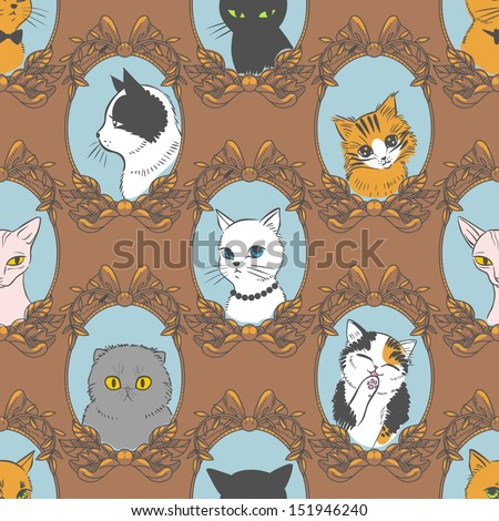 Funny retro seamless pattern with cats. Vector illustration - stock vector