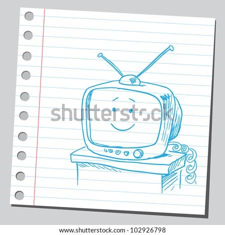 Funny retro TV - stock vector