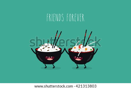 Funny rice noodles and rice in black plates. Friend forever. Vector illustration. Comic character