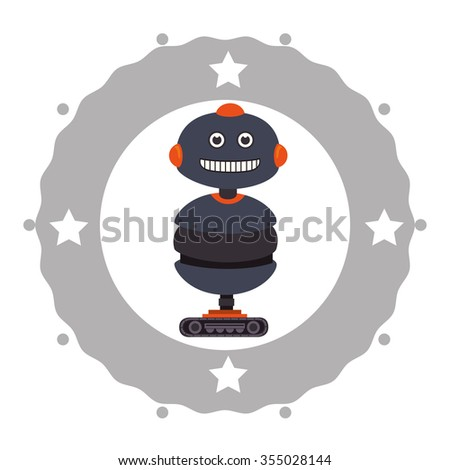 Funny robot cartoon graphic design, vector illustration eps10