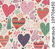 Funny romantic seamless pattern with cartoon hares - stock photo