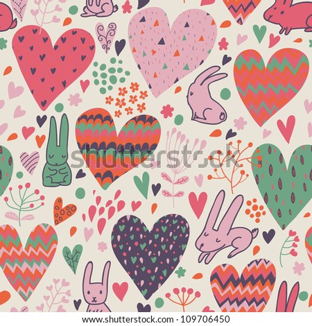 Funny romantic seamless pattern with cartoon hares - stock vector