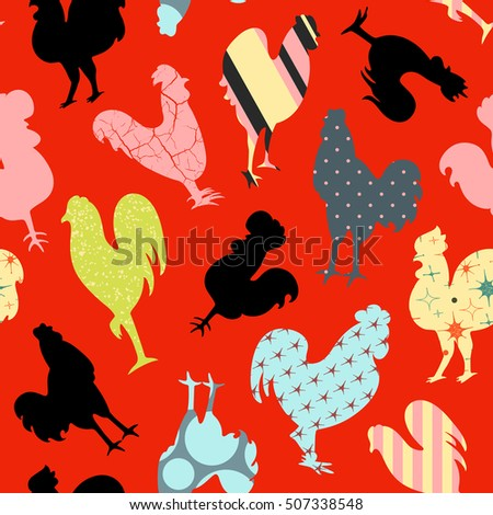 Funny roosters seamless pattern, textured and patterned roosters silhouettes on red background, Chinese new year symbol, cock print, vector illustration