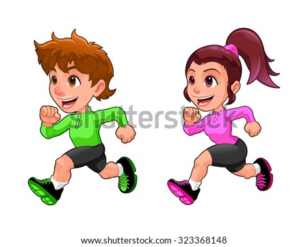 Funny running boy and girl. Cartoon vector isolated character. - stock vector